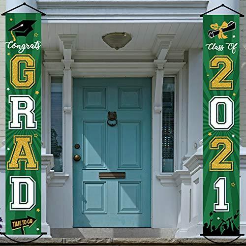 2021 Graduation Banner Class of 2021 Congrats Grad Porch Sign Party Decorations Supplies Welcome Hanging Door Decor for Indoor Outdoor(Green)