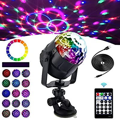 Disco Light Sound Activated 15 Colors Disco Ball Light for Parties with Remote Control USB Cable and Suction Mount Storbe Lights for Home Kids Birthday Wedding Club Pub