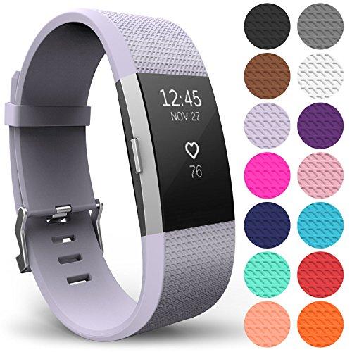 Yousave Accessories Armband Kompatibel mit Fitbit Charge 2, Ersatz Fitness Armband und Uhrenarmband, Silikon Sportarmband und Fitnessband, Wristband Armbänder für Fitbit Charge2 - Klein, Flieder
