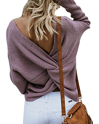 LANISEN Women Knit Sweater Loose Pullover,Long Sleeve Knitted Sweater with Back Knot Purple M