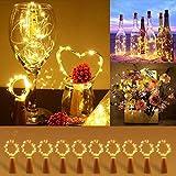[10 Piezas] Luces para Botellas, Luz de Botella, Luz Corcho, Sendowtek Luces Led para Botellas de Vino 2m 20 LED a Pilas para Decoración de Boda, DIY Fiesta, Celebración, Blanco Cálido [Clase de...