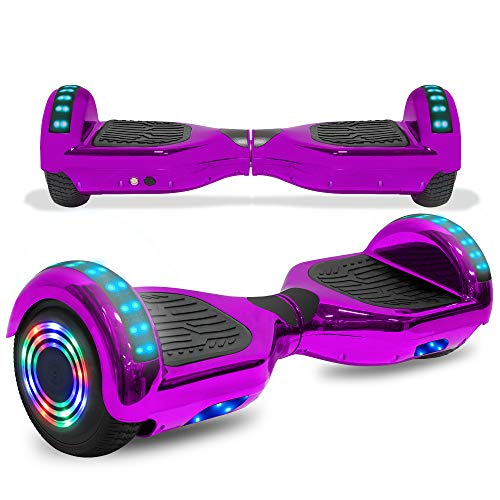 cho Colorful Wheels Series Hoverboard Safety Certified Hover Board Electric Scooter with Built in Speaker Smart Self Balancing Wheels (Chrome Purple)