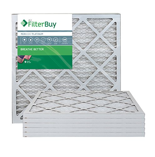 FilterBuy 20x20x1 Air Filter MERV 13, Pleated HVAC AC Furnace Filters (6-Pack, Platinum)