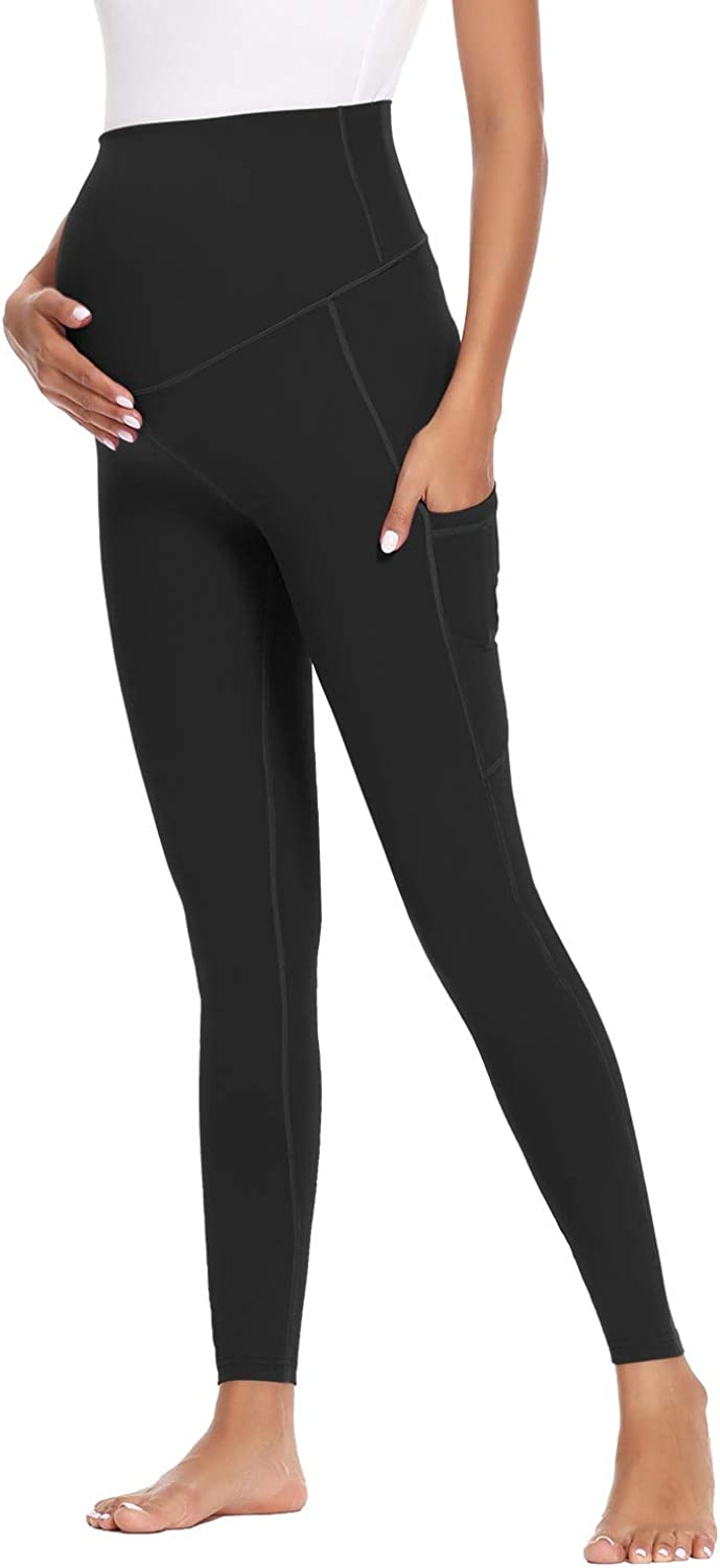 Ecavus Women's Maternity Yoga Pants with Pockets Over Bump Active Leggings Workout Athletic Full Length Pregnancy Pants at  Women's Clothing store