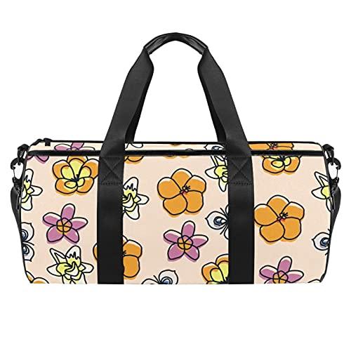 Bolsa de deporte para hombre y mujer con diseño de flor floral con bolsillo impermeable