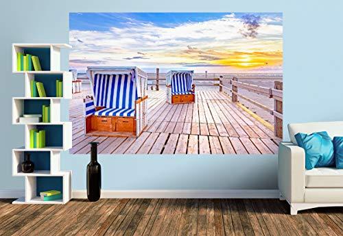 Premium Foto-Tapete SPO Strandkörbe im Sonnenuntergang (versch. Größen) (Size M | 279 x 186 cm) Design-Tapete, Wand-Tapete, Wand-Dekoration, Photo-Tapete, Markenqualität von ERFURT