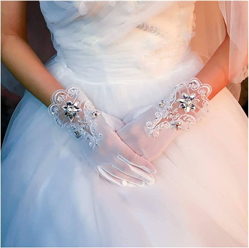 Michealboy Bridal Wedding Lace Embroidered Gloves Tulle Cuff Diamond Gloves