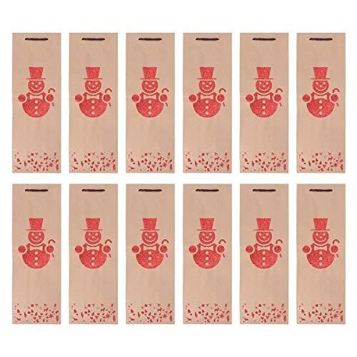 ABOOFAN 12 Stück Entzückende Weihnachtsmuster Rotweinflasche Handtasche Papier Tragetasche Party Favor Supply