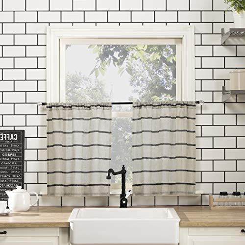 Clean Window Twill Stripe Allergy/Pet Friendly Anti-Dust Sheer Curtain Panel, 52' x 24' Kitchen Tier Pair, Black/Linen