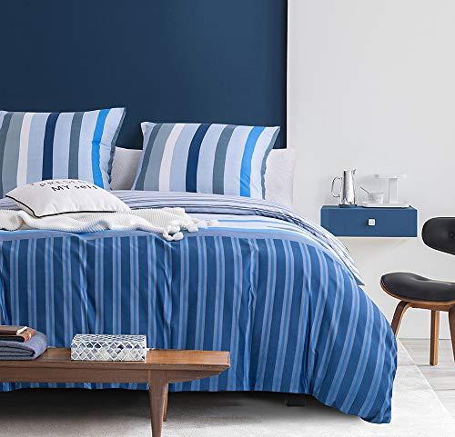 Boqingzhu Bettwäsche Gestreift 135x200cm Blau Weiß Grau Modern Microfaser Streifen Bettwäsche Set Einzelbett mit Kissenbezug 80x80cm mit Reißverschluss