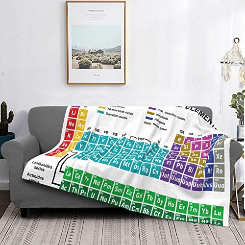 Minalo Personalized Fleece Blanket,Eriodic Table,Educational Artwork For Classroom Science Lab Chemistry Club Camp Kids Print,Living Room/Bedroom/Sofa Couch Bed Flannel Quilt Throw Blanket,50' X 40'