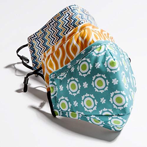 lunglife Atemschutzmaske 3-er Set – Baumwolle mit 10 Kohle-Wechselfiltern gegen Feinstaub für Fahrrad Outdoor Reise Allergiker Staubmaske Atemmaske
