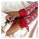 JYINGKJ Calcetines esponjosos Mujeres Navidad Muslo Altas Medias de Invierno Suaves Calcetines Largos Punto sobre Calcetines de Rodilla (Farbe : Rot, Größe : Einheitsgröße)