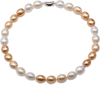 JYX Pearl Necklace 12×15mm White and Golden South Sea Shell Pearl Necklace Oval Beads Necklace for Women 18''