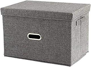 MU Grande boîte de rangement, organisateur de boîte de jouet de bacs de panier de rangement de vêtements de toile de lin p...