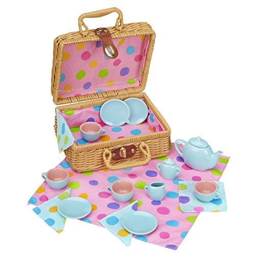 Alex Pretend & Play Tea Time Basket Kids Tea Set, 19 Piece