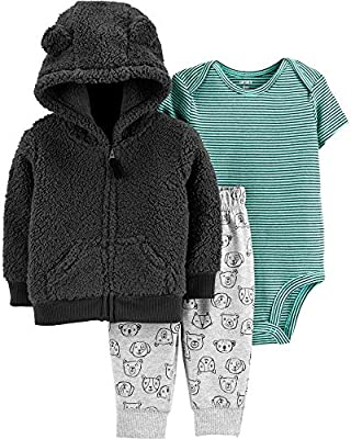 Carter's Baby Boys' 3-Piece Little Jacket Sets (12 Months) Black/Heather