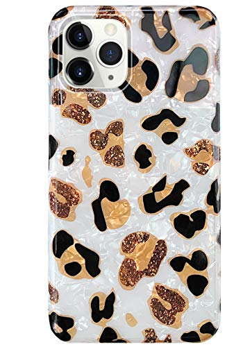 "J.west iPhone 11 Pro Max Case, Luxury Sparkle Translucent Clear Leopard Print Soft Silicone Phone Case for Girls Women Slim Design Cheetah Pattern Protective Case for iPhone 11 Pro Max 6.5"" Leopard"