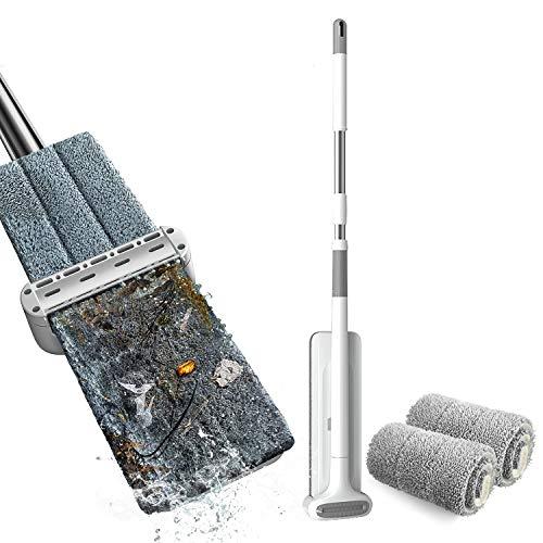 negaor Mopa de microfibra con sistema de limpieza de suelos, almohadillas lavables, limpiador de polvo reutilizable con almohadillas de relleno blandas, limpiador de suelos de madera dura
