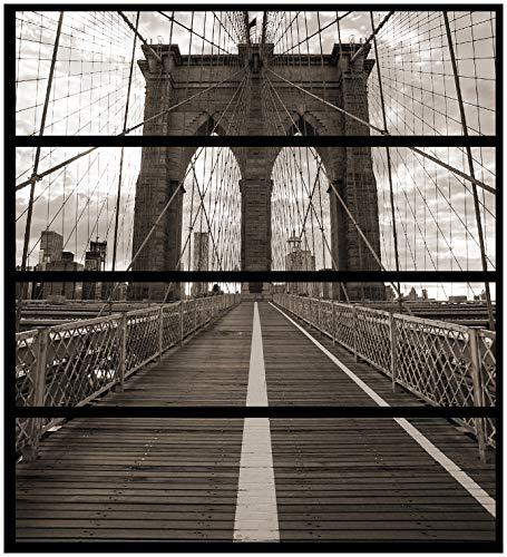 Wallario Möbelfolie/Aufkleber, geeignet für IKEA Malm Kommode - Brooklyn Bridge in New York mit 4 Schubfächern