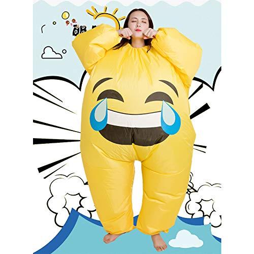 Inflable Divertido Hombre Gordo Sonriente Cara Llorando Paquete de emoticonos Disfraz, Truco o Trato de Halloween Divertido Disfraz de Fiesta Mono, Disfraz de Juego de rol para Adultos y nios-Stylet