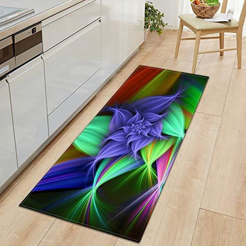 OPLJ Küchenteppich Wohnzimmer Flur Bodenteppich Home Anti-Rutsch-Eingang Fußmatte 3D Blumen Muster Dekorationen Fußmatte A24 60x90cm