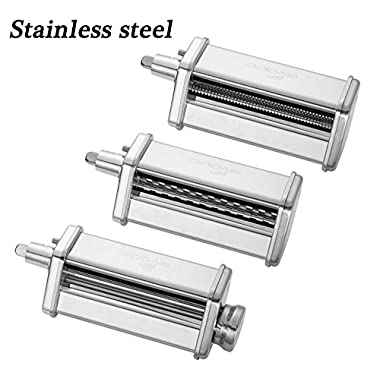 3-Piece Pasta Roller and Cutter Set for KitchenAid Stand Mixers,Stainless Steel,mixer accessory by GVODE