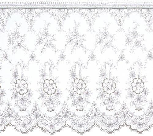 Plauener Spitze by Modespitze, Store Bistro Gardine Tüllgardine Florentiner mit Stangendurchzug, hochwertige Stickerei, Höhe 65 cm, Breite 118 cm, Creme