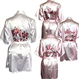Blue Planet Fancy Dress Rose-Gold Braut-Bademantel, Kimono, rosafarbene Bademäntel, Junggesellinnenabschied, Spa Robe (rosa mit Trauzeugin Floral, Größe M (UK 8-10)