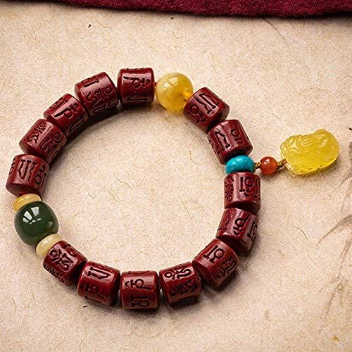 CINNABAR BANGLE FENG SHUI Pulsera para las mujeres Cinabar de seis caracteres Mantra Barril Barril Beads con abejaswaxpixiu Pi Yao Colgante Agata Red Agate Beads y HETAN SAPHIRE BEADS ATRATE MONEY AMU