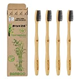 Biykog Natural Bamboo Toothbrushes, 4PCS Eco-Friendly Toothbrushes with 100% Biodegradable Charcoal Infused Bristles, BPA-Free Medium Soft Toothbrush for Adults, Zero Waste Dental Care Product
