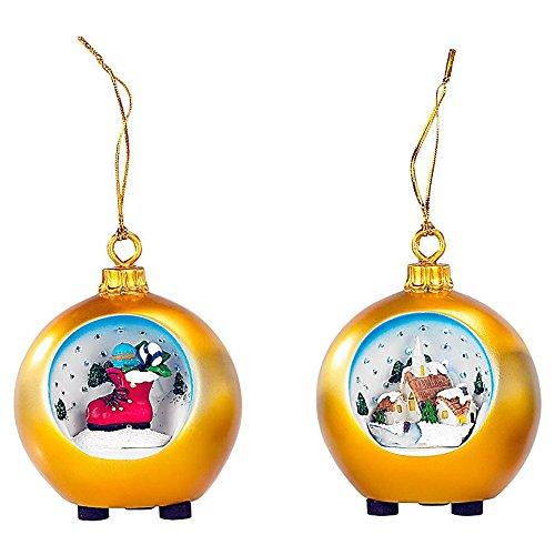 SSITG kerstballen met motief met LED-sterrenhemel, set van 2, goud