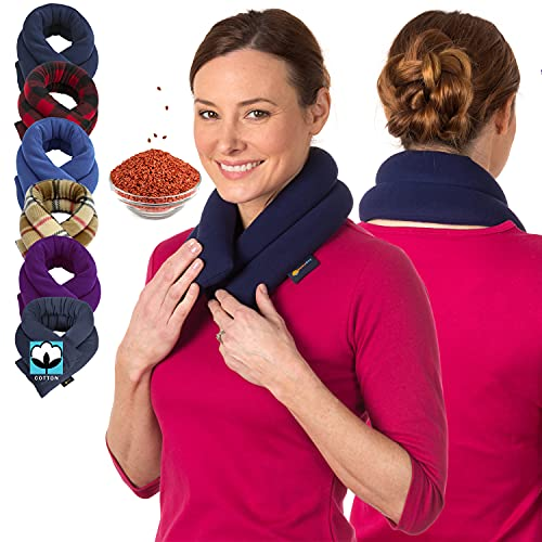 Microwave Heating Pad for Neck & Shoulders - Flax Seed Hot Packs for Pain - Bean Bag Heating Pad Microwavable - Hot Compresses for The Body - Heated Neck Wrap by Sunnybay (Navy Blue, Extra Long)
