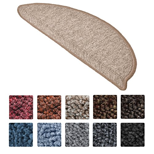 Beautissu Stufenmatten ProStair 15er Set in 55x15cm Treppenmatten eingekettelt, starke Befestigung - Sand