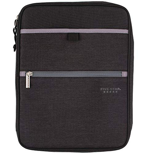 Five Star Zipper Binder, 1 Inch 3 Ring Binder, Carry-All with Internal Pockets & Dividers, Heathered Black/Gray (29092IT8)