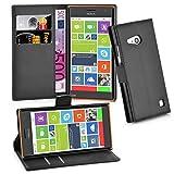 Cadorabo Hülle für Nokia Lumia 730 - Hülle in Phantom SCHWARZ – Handyhülle mit Kartenfach & Standfunktion - Case Cover Schutzhülle Etui Tasche Book Klapp Style