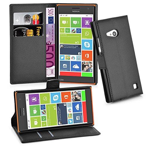 Cadorabo Hülle für Nokia Lumia 730 in Phantom SCHWARZ - Handyhülle mit Magnetverschluss, Standfunktion & Kartenfach - Hülle Cover Schutzhülle Etui Tasche Book Klapp Style