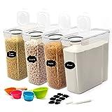 JUCJET 4L Recipientes para Cereales, Sin BPA Botes Cocina Tarro de Almacenamiento Plástico con Tapa Hermétic, Juego de 4 + 12 Etiquetas, para Cereales, Pasta, harina