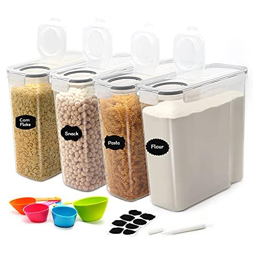 JUCJET 4L Boîtes de Conservation Alimentaire, Boîtes à Céréales Hermétiques, Boite de Rangement Cuisine sans BPA, Ensemble De 4 + 12 Étiquettes, pour Céréales, Farine, Pâtes