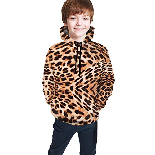 XCNGG Teen Sweater Boy Sweater Girl Sweater Sudadera con Capucha Tropics Cheetah Swirl Gold Animal Fabric Kid's Hooded Sweate Pullover with Pocket Jacket for Boys Girls
