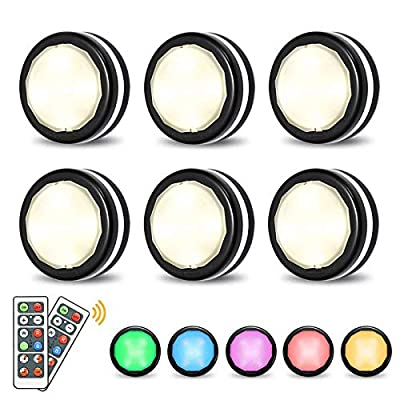LED Closet Lights Elfeland Wireless Color Changing RGB Puck Light 6 Pack with 2 Remote Controls Dimmable Under Cabinet Lighting Battery Powered Lights Under Counter Lighting Stick On Lights