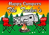 Anchor Graphix Happy Campers Personalized Camping Sign Featuring 5th Wheel and Camp Chairs (10x14)