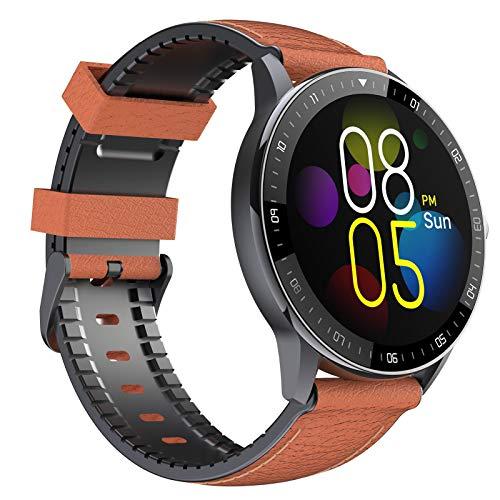 EIGIIS Relojes inteligentes, Impermeable Fitness Tracker Reloj con monitor de ritmo cardíaco/sueño, podómetro, cronómetro, rastreador de actividad para hombres niños (marrón - correa de cuero)