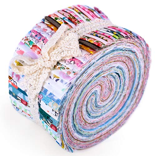 Roll Up Cotton Fabric Quilting Strips, Jelly Roll Fabric, Cotton Craft Fabric Bundle, Patchwork Craft Cotton Quilting Fabric, Cotton Fabric, Quilting Fabric with Different Patterns for Crafts