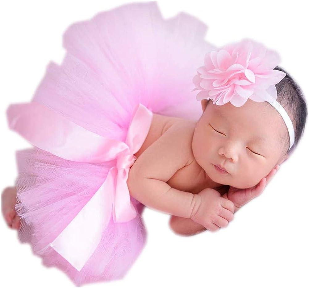 Rainbow Newborn Headdress Flower+Tutu Clothes Skirt Baby Girl Photo Prop Outfits