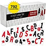 Swinging Sign Letters: Includes 792 Four inch Letters, Symbols, and Numbers for 24'x36' Swinging Letter Board Sign. Double Sided with Black & Red Printing on Flexible White Plastic Panels.