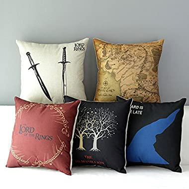 TavasDecor 17  Lord of the Rings Home Sofa Chair Decorative Throw Pillow Case Cushion Cover - Bundle 5 Pieces One Set