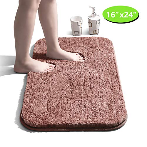 Bathroom Rug Non-Slip Bath Mat for Bathroom Water Absorbent Soft Microfiber Bathroom Mat Machine Washable Bath Rug for Bathroom Thick Plush Rugs...