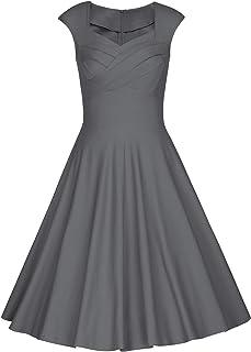 MUXXN Women's 1950s Retro Vintage Cap Sleeve Party Swing Dress