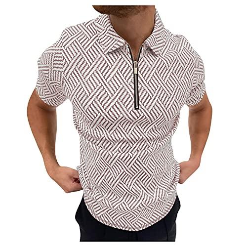 Camisetas Manga Corta Hombre con Cremallera Solapa Moda Camisetas Hombre Originales de Vestir Slim Fit con Estampado Señores Camiseta Hombre cómodo Ropa Hombre Verano Baratos Personalizadas